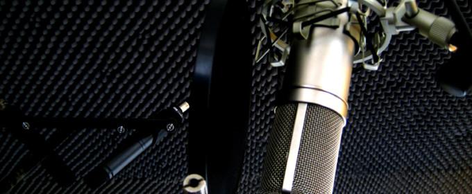 Микрофон на студии звукозаписи